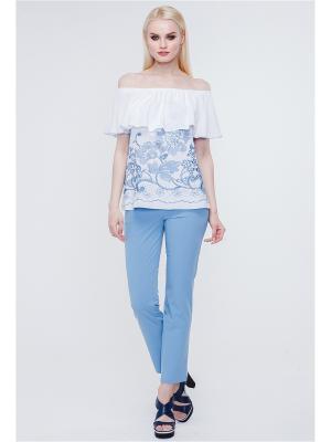 Блузка VICTORIA VEISBRUT. Цвет: белый, голубой