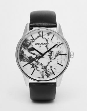 UNKNOWN Часы с 39 мм мраморным циферблатом и кожаным ремешком. Цвет: черный