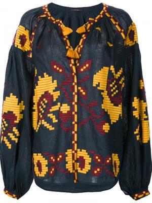 Крестьянская блузка с вышивкой Vita Kin. Цвет: синий