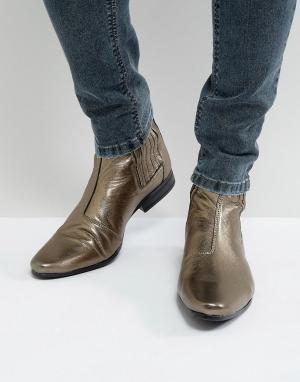 ASOS Золотистые ботинки челси. Цвет: золотой