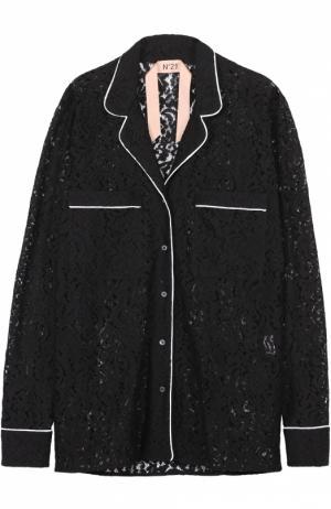 Кружевная блуза в пижамном стиле с контрастной отделкой No. 21. Цвет: черный