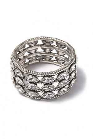 Широкий браслет с кристаллами Philippe Audibert. Цвет: серебряный