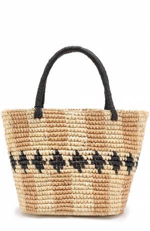 Плетеная сумка с орнаментом Sensi Studio. Цвет: бежевый