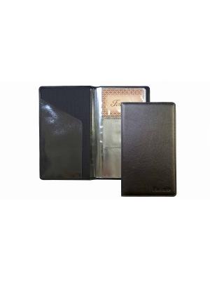 Визитница черная, лист на 3 визитки, 72 штуки Фаэтано. Цвет: черный