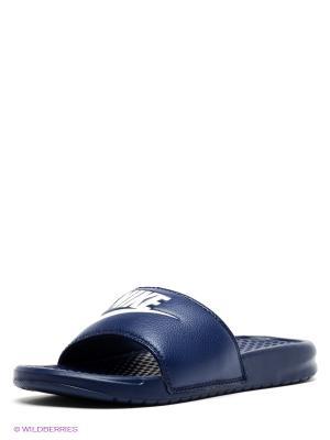 Шлепанцы BENASSI JDI Nike. Цвет: темно-синий, белый