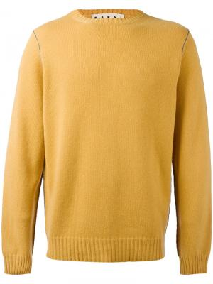 Свитер с контрастной строчкой Marni. Цвет: жёлтый и оранжевый