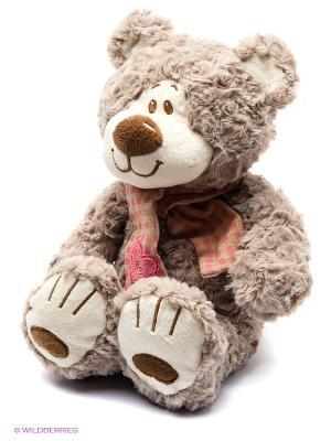 Мишка Митя с шарфом беж. 25см. Fluffy Family. Цвет: коричневый