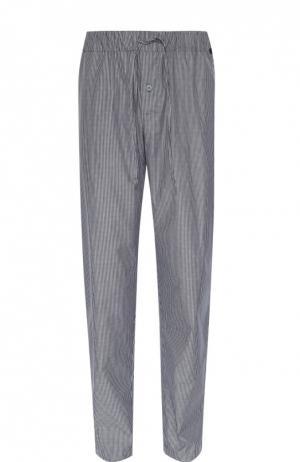 Хлопковые домашние брюки свободного кроя Hanro. Цвет: синий