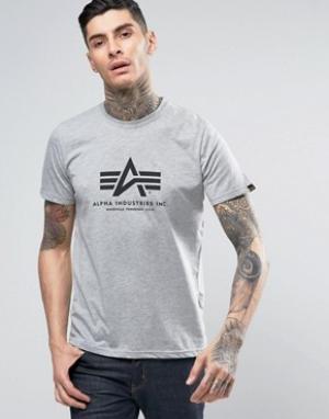 Alpha Industries Серая меланжевая футболка стандартного кроя с логотипом Industri. Цвет: серый