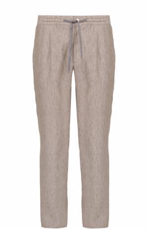 Льняные брюки свободного кроя Bilancioni. Цвет: бежевый