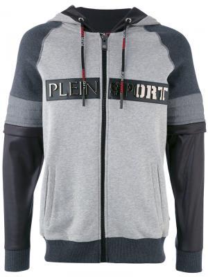 Толстовка на молнии с капюшоном Creed Plein Sport. Цвет: серый