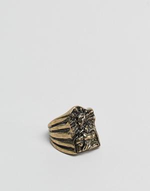 ASOS Золотистое оверсайз-кольцо. Цвет: золотой