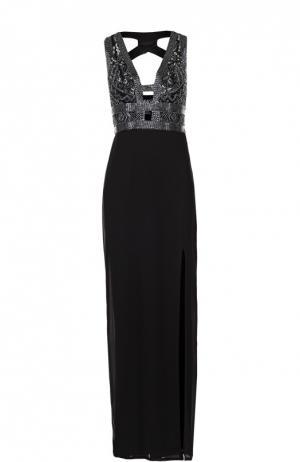 Платье в пол с контрастной вышивкой и высоким разрезом Basix Black Label. Цвет: черный
