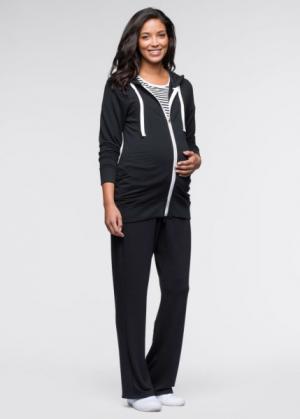 Мода для беременности: футболка, куртка и брюки (3 изд.) (черный + черный/белый в полоск) bonprix. Цвет: черный + черный/белый в полоск