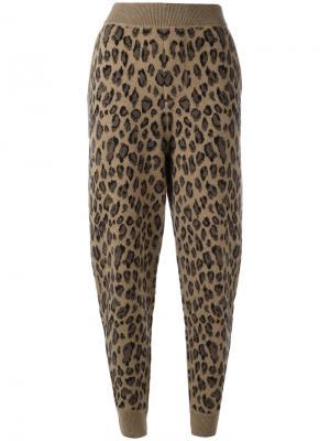 Леопардовые спортивные брюки Alexander Wang. Цвет: коричневый