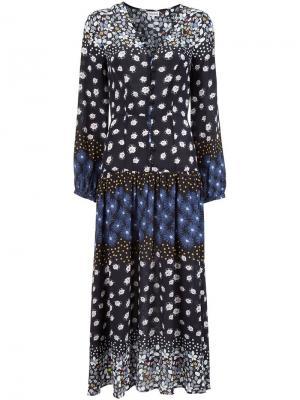 Длинное платье с цветочным принтом Suno. Цвет: чёрный