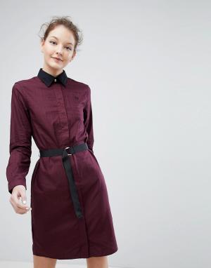 Fred Perry Платье-рубашка с поясом. Цвет: коричневый