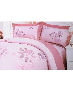 Комплект постельного белья с вышивкой 3 предмета HAMRAN. Цвет: бледно-розовый, розовый