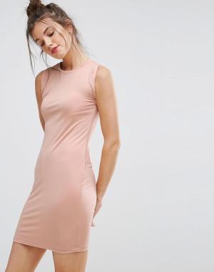ASOS Платье-майка мини с перекрученной проймой. Цвет: розовый