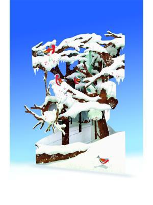 Объемная открытка  Снегири Даринчи. Цвет: белый