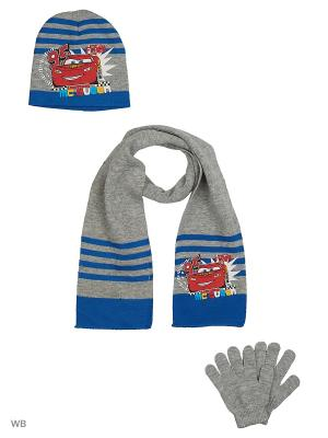 Комплект шапка, шарф и перчатки Sun City. Цвет: светло-серый