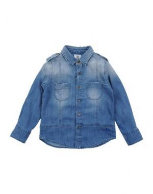 Джинсовая рубашка MAURO GRIFONI KIDS. Цвет: синий