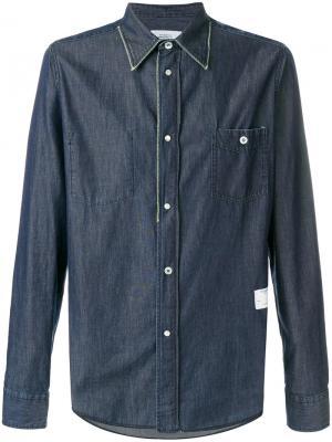 Джинсовая рубашка на пуговицах The Editor. Цвет: синий