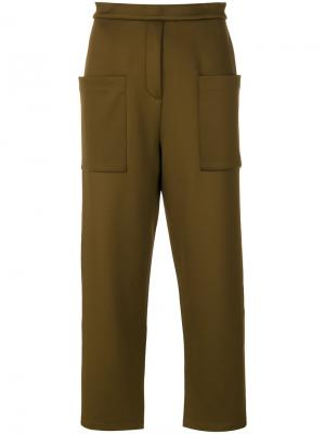 Cropped tailored trousers By Malene Birger. Цвет: зелёный