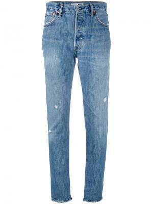 Рваные джинсы Re/Done. Цвет: синий