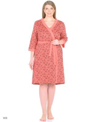 Комплект женский, дизайн Надежда халат + сорочка Dorothy's Нome. Цвет: коралловый