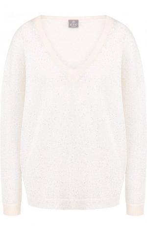 Кашемировый пуловер свободного кроя с V-образным вырезом FTC. Цвет: белый