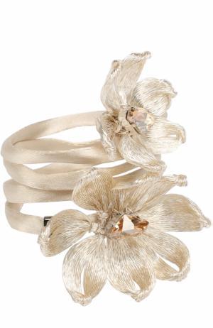 Резинка с цветочным декором Colette Malouf. Цвет: серебряный
