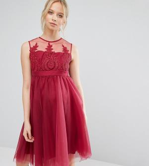 Chi London Maternity Выходное платье для беременных с вышивкой и юбкой из тюля Lond. Цвет: розовый
