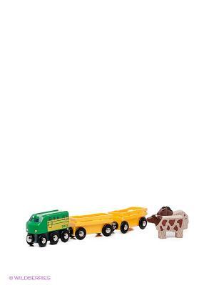 Игровой набор Грузовые вагоны с животными BRIO. Цвет: желтый, зеленый