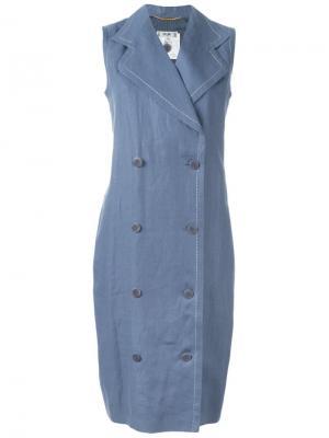 Двубортное платье Céline Vintage. Цвет: синий