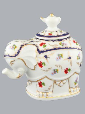 Чайница Слон Цветочек Elan Gallery. Цвет: белый, синий, зеленый, красный