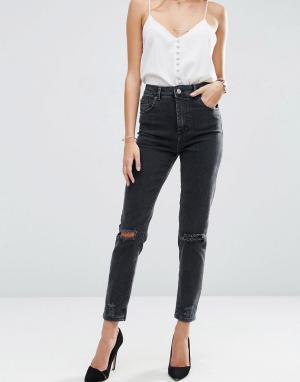 ASOS Черные выбеленные джинсы слим в винтажном стиле с завышенной талией и. Цвет: черный