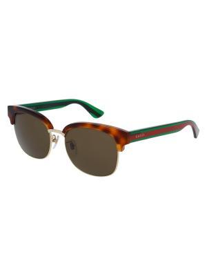 Солнцезащитные очки GUCCI. Цвет: зеленый, коричневый