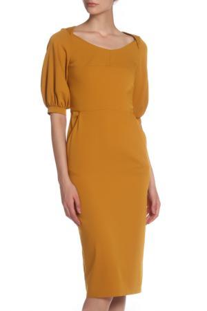 Платье приталенное с рукавами Фонарик IQDRESS. Цвет: горчичный