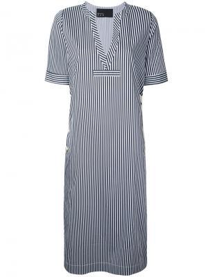 Платье-рубашка в полоску N Duo. Цвет: белый