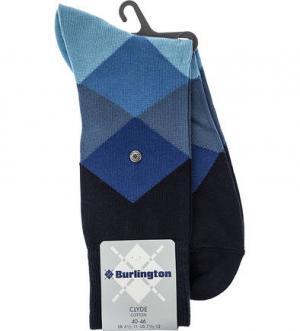 Синие хлопковые носки в клетку Burlington. Цвет: синий