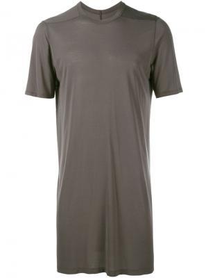 Удлиненная футболка Rick Owens. Цвет: серый