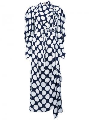 Платье с принтом и драпировкой A.W.A.K.E.. Цвет: синий