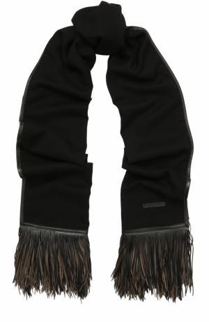 Кашемировый шарф с кожаной отделкой Elie Saab. Цвет: черный