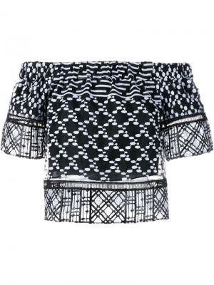 Блузка с вышивкой Jonathan Simkhai. Цвет: чёрный