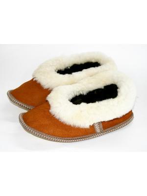 Туфли комнатные - тапочки Тефия. Цвет: рыжий, молочный