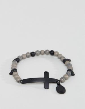Icon Brand Серый браслет из бусин с крестиком. Цвет: серый