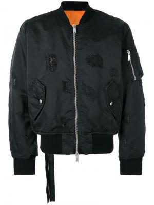 Куртка-бомбер с потертой отделкой Unravel Project. Цвет: чёрный