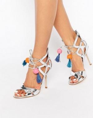Sam Edelman Серебристые сандалии на каблуке с кисточками Azela. Цвет: серебряный