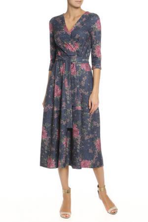 Полуприлегающее платье с поясом Alina Assi. Цвет: темно-синий, розовый